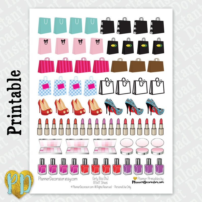 graphic relating to Diy Planner Printables named Girly Make-up Printable Planner Stickers, Browsing Luggage Large Heels stickers, Nail Polish Do-it-yourself Planner Printables, Fast Obtain PDF