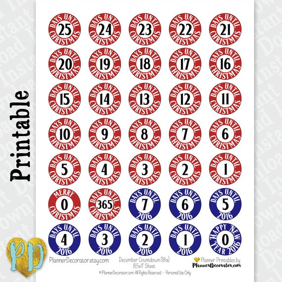 picture about Countdown Printable called Xmas Countdown Printable Planner Stickers, Fresh Several years Countdown printable sticker sheet, Fresh new Many years Countdown Planner Printables