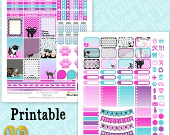 Cat Theme Printable Planner Stickers, Cats Sticker Kit, Cat Lady Planner Sticker Printable / INSTaNT DOWNLOAD, full box, half box, headers