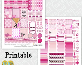 Breast Cancer Awareness printable planner stickers, Pink Ribbon monthly sticker kit, ombre checklist, header Printable PDF INSTaNT DOWNLOAD