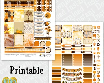 October printable planner stickers, monthly sticker kit, Printable PDF INSTaNT DOWNLOAD, full box, half box, ombre checklist, weekend banner