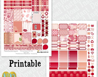February printable planner stickers, February monthly sticker kit, Red & Pink Printable PDF INSTaNT DOWNLOAD, Half box, full box, headers