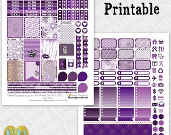 Anti-Valentine's Day printable planner stickers, Purple February monthly sticker kit, Instant Download Printable PDF, half box, full box