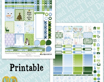 December printable planner stickers, December monthly sticker kit, Printable PDF INSTaNT DOWNLOAD, half box, full box, ombre checklists