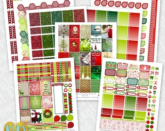 CHRISTMAS printable planner stickers, 9pc Traditional Christmas monthly sticker kit, full box, half box, headers, dew drops, checklists