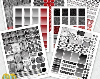 Halloween printable planner stickers, 7pc B&W Goth monthly sticker kit, checklists, dewdrops, editable header, full box, half box, icons