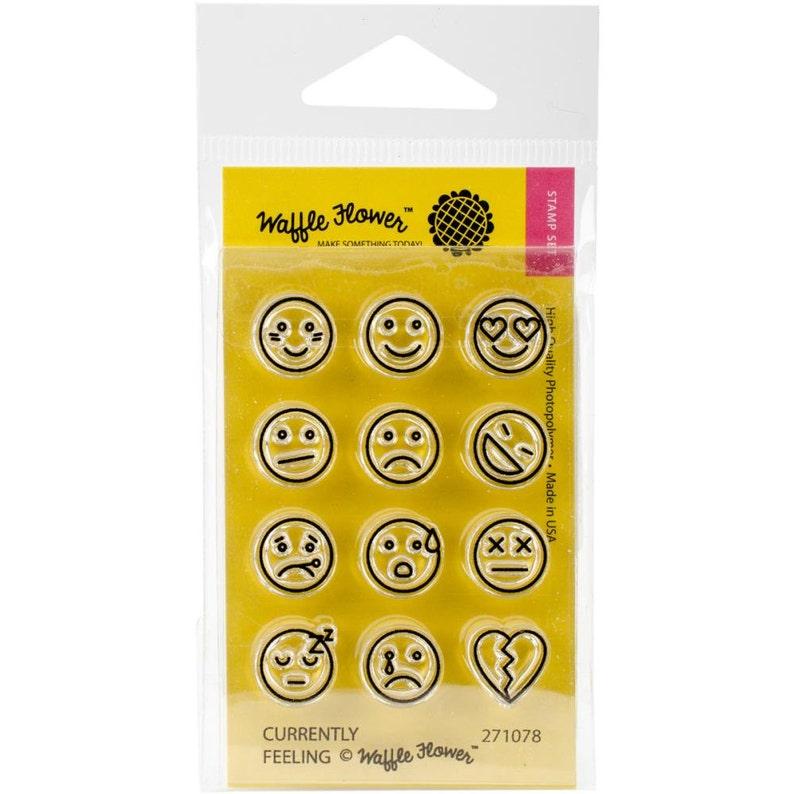 "Emoji 2/""x3/"" Planner Currently Feeling Waffle Flower Clear Stamp Set"
