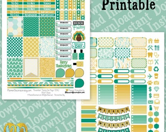 November printable planner stickers, monthly sticker kit, Printable PDF for vertical planners / INSTaNT DOWNLOAD, full box, half box, icons