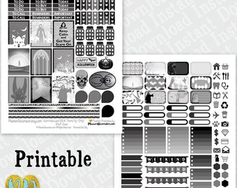 Halloween printable planner stickers, Goth monthly sticker kit, Printable PDF / INSTaNT DOWNLOAD, full box, half box, icons, ombre checklist