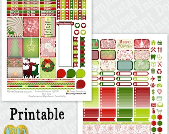 Christmas printable planner stickers, 2 page Christmas monthly sticker kit, Printable PDF / INSTaNT DOWNLOAD, full & half boxes, checklists