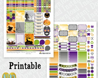 Halloween printable planner stickers, monthly sticker kit, Printable PDF INSTaNT DOWNLOAD full box, half box, ombre checklist, headers, icon