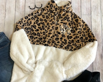Leopard Print Womens Monogrammed Sherpa Zipper Pullover Jacket-Personalized Monogram Adults Ladies Winter Fleece-Women's Sherpas Initials