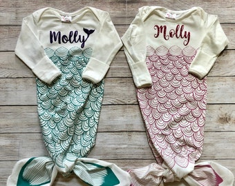 Personalized Name Baby Cotton Sleeper Gown Cora