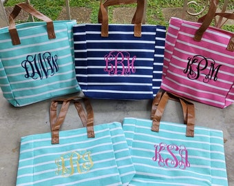 Jute Straw Tote Bag Beach Bag with Pink and Navy Stripes by Milly Kate