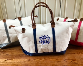 247143e326 Monogrammed Weekender Canvas Tote Travel Bag w  Shoulder Strap. Overnight  Luggage Bags with Monogram