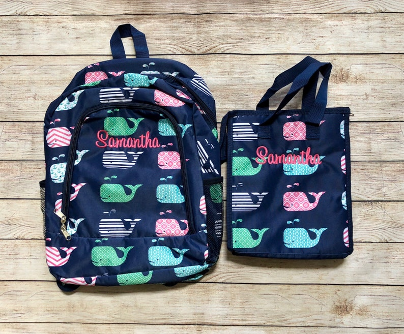 Personalized Pink Navy or Aqua Blue Whale Back Pack and Lunch  c63ad0568ae1c