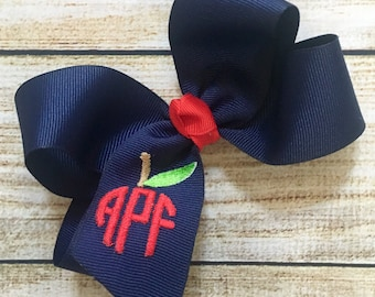 You Choose Colors...Medium or Large Monogrammed Back to School Hair Bow…Personalized Apple Boutique Bows with Monogram or Initial