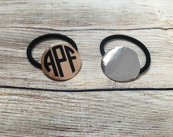 Monogrammed Silver or Gold Circle Ponytail Holder Hair Elastic Hairbow…Personalized Hair Bow Tie with Monogram…Custom Hair Ties Pony