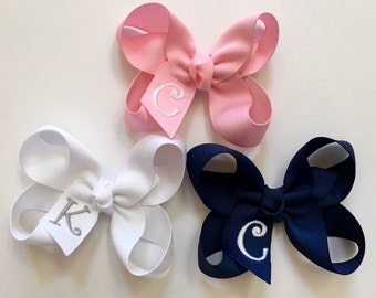 Set of 3 or 5 Small Monogrammed Hair Bows…Personalized 3 inch Boutique Bows with Embroidered Initial…You Choose Colors!!