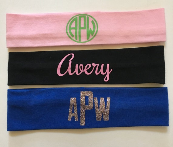 Monogrammed Stretch HeadbandsPersonalized Glitter Headband  2d2c7343ba9