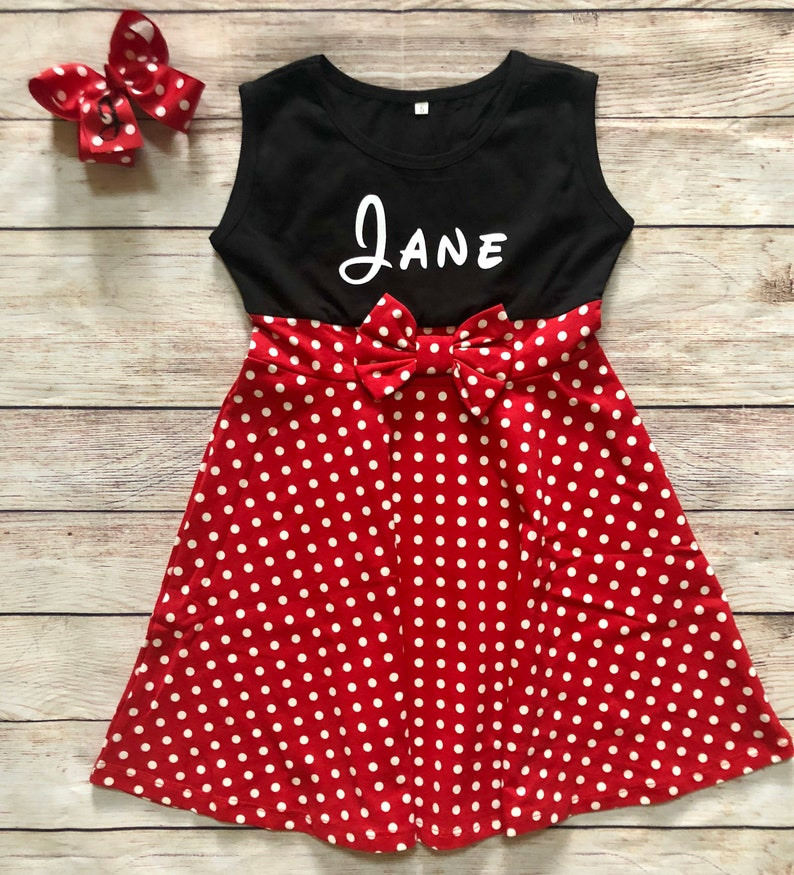 395d967a Personalized Mrs. Mouse Girls Dress with Bow Princess Black | Etsy