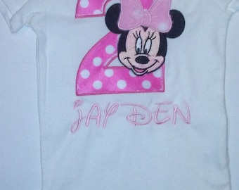 e4cb14afd Hot Pink and Light Pink Minnie Mouse 2nd Birthday Onesie T Shirt  Personalized