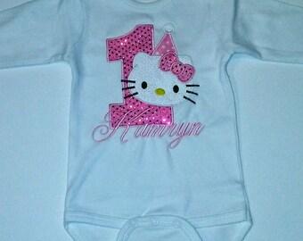 Pink Glitter Hello Kitty 1st Birthday Bodysuit Shirt Personalized