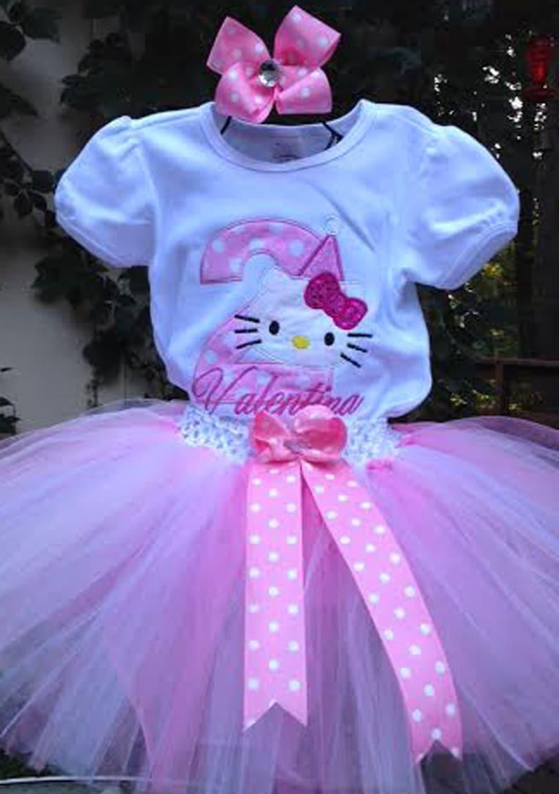2e76fea00 Pink Hello Kitty 2nd Birthday Outfit Onesie Tutu FREE Hair Bow | Etsy