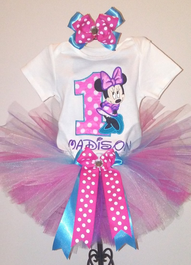 1b85f5ff1bc Pink Turquoise and Purple Minnie Mouse 1st Birthday Outfit Bodysuit Tutu  FREE Hair Bow Pink Minnie Mouse 1st Birthday Minnie Mouse Shirt
