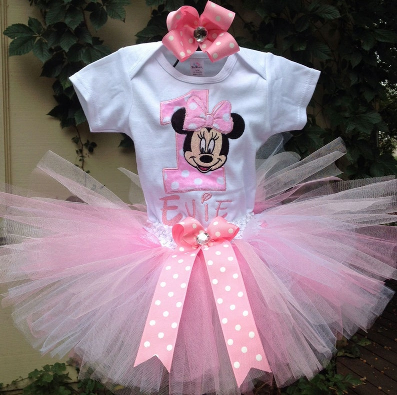 bb7a8ef00 Pink Minnie Mouse 1st Birthday Outfit Minnie Mouse 1st | Etsy
