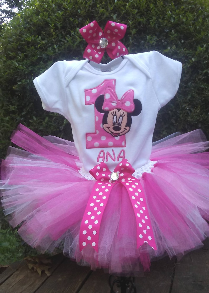 a5845ef1928 Hot Pink Minnie Mouse 1st Birthday Outfit Pink Minnie Mouse Birthday Outfit  Minnie Mouse 1st Birthday Shirt Onesie Tutu FREE Bow