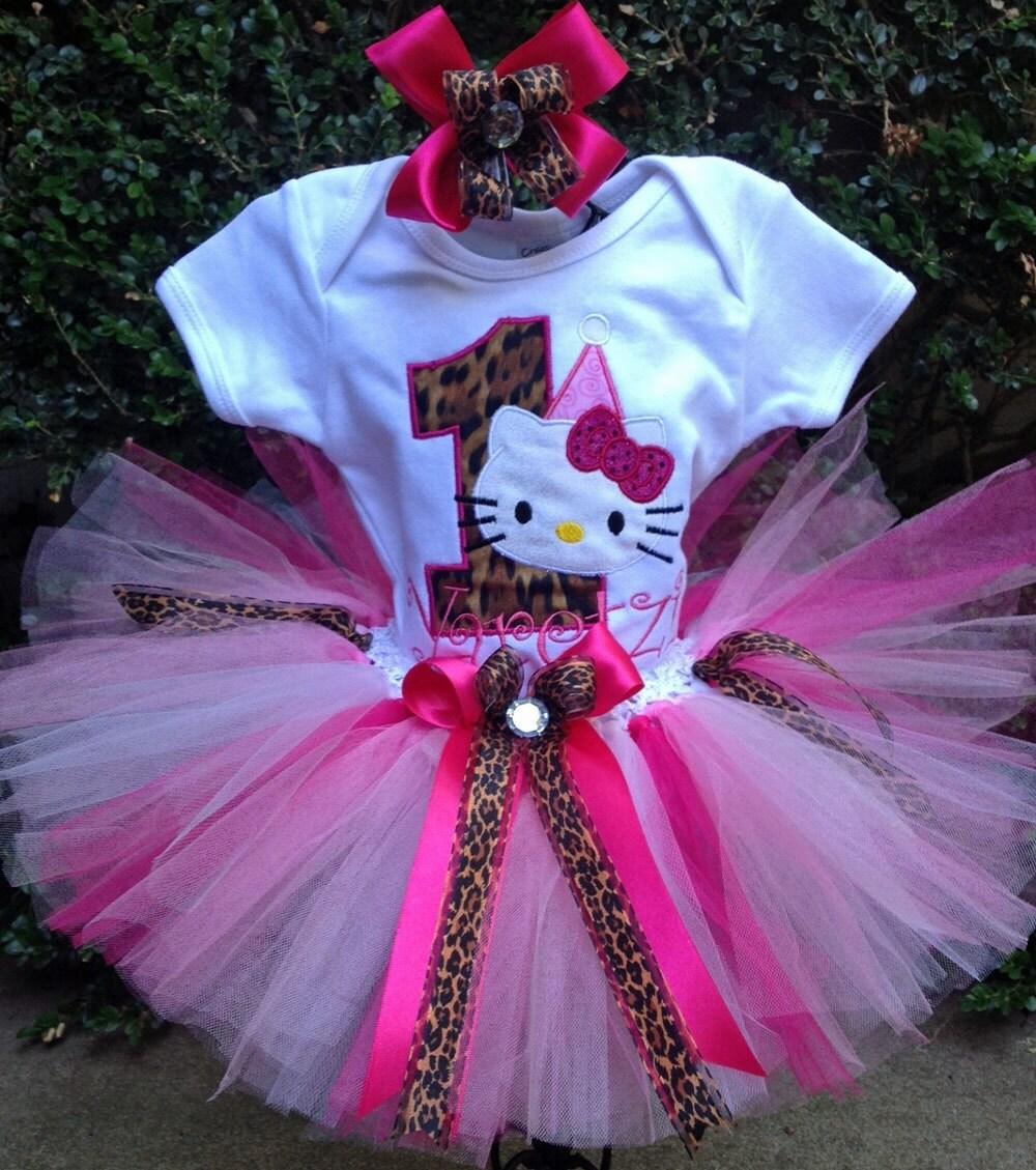 Hello Kitty Leopard Pink 1st Birthday Outfit Onesie Tutu