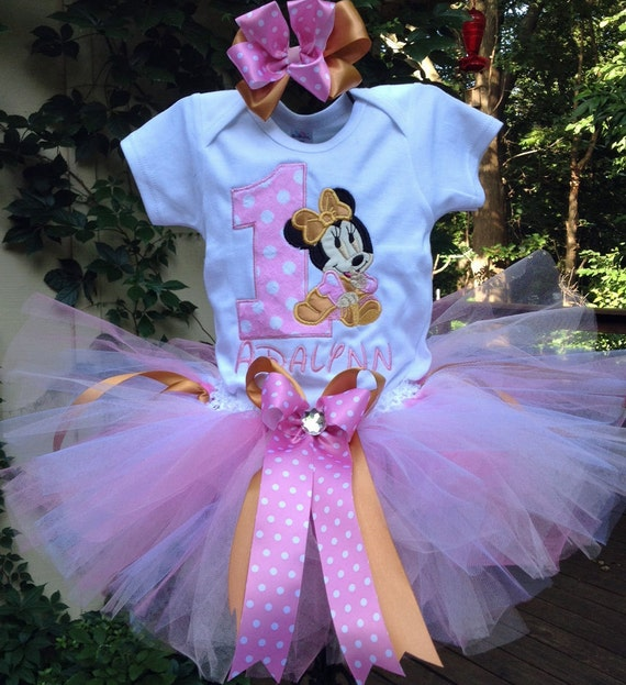 First birthday outfit,Minnie Mouse Inspired outfit,Hot Pink And Purple tutu set