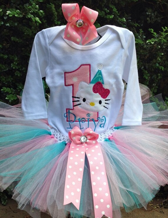 7be6f839f Pink Turquoise Hello Kitty 1st Birthday Outfit Onesie Tutu | Etsy