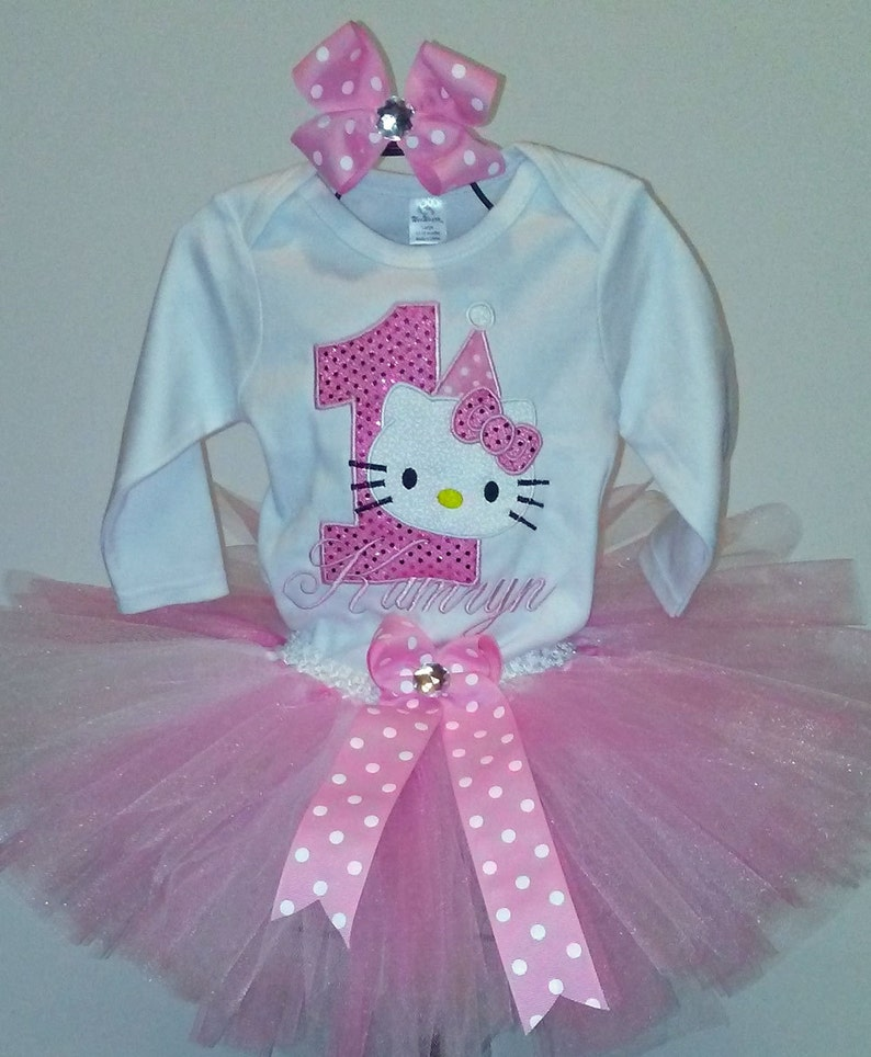 79d238485 Pink Glitter Hello Kitty 1st Birthday Outfit Onesie Tutu FREE | Etsy