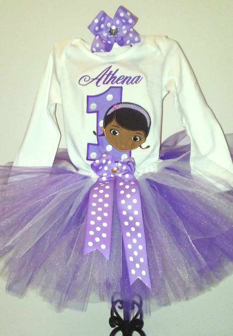 Doc McStuffins Lavender Purple 1st Birthday Outfit Onesie Tutu FREE Hair Bow Personalized Doc Mcstuffins Baby Toddler Little Girls Outfit