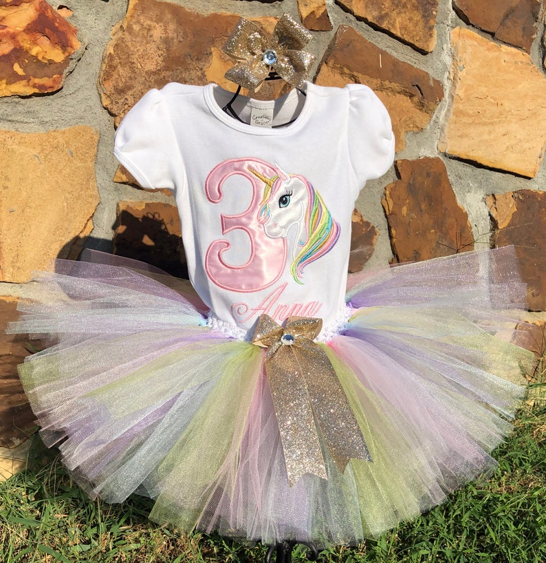 Unicorn Pink Gold Pastel Rainbow 3rd Birthday Outfit Shirt Tutu FREE Hair Bow Personalized Pink Pastel Baby Toddler Little Girls Tutu Outfit