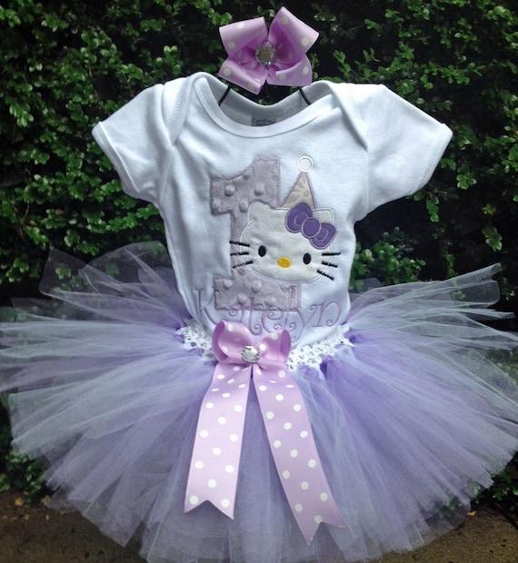 643d82516 Lavender Hello Kitty 1st Birthday Outfit Onesie Tutu FREE Hair | Etsy