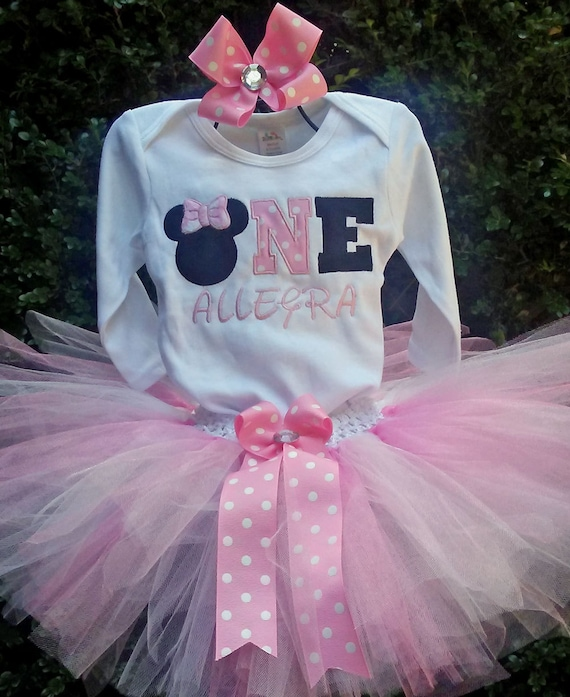 Minnie Mouse Pink ONE 1st Birthday Outfit Onesie Tutu FREE Hair Bow Personalized Minnie Mouse Baby Toddler Little Girls Birthday Tutu Outfit