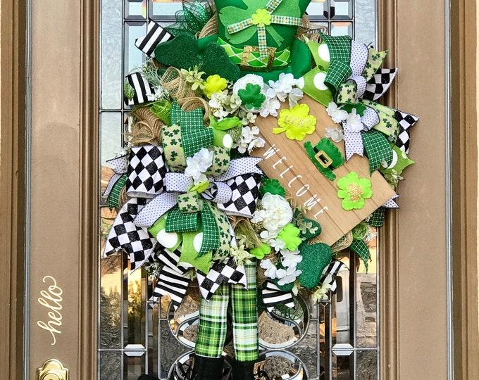 Featured listing image: St Patrick's Day Wreath, Shamrock Leprechaun Wreath, St Patty's Day Decor, Irish Wreath