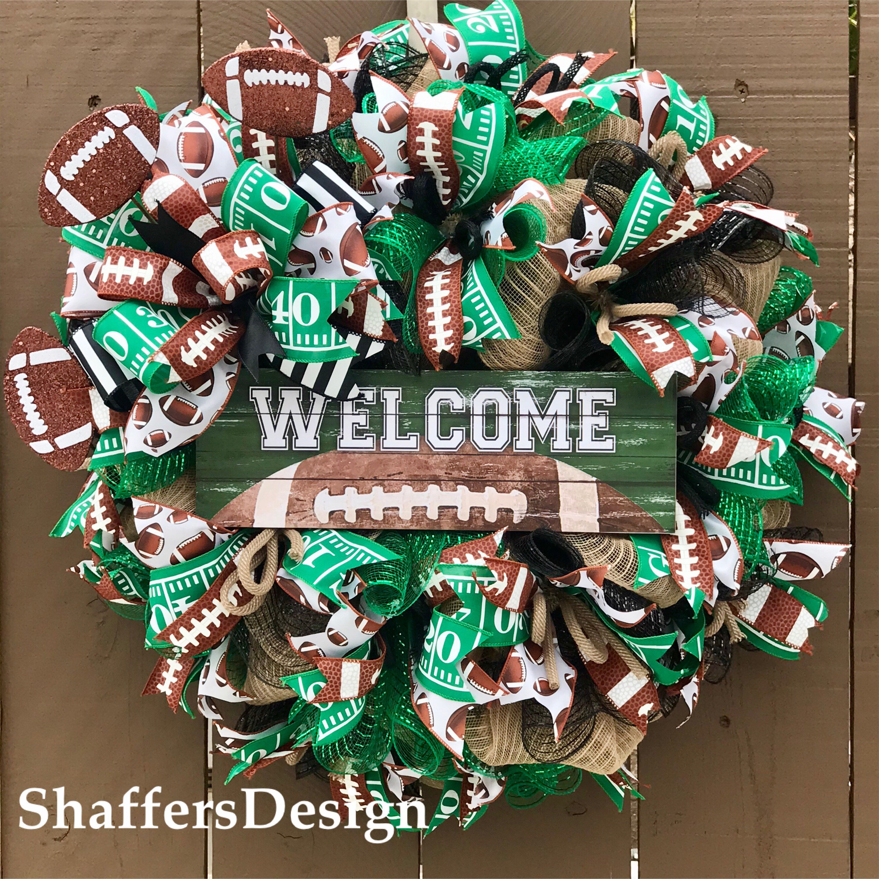 Football Front Door Wreath Fall Sports Wreath Football Wreath Sports Wreath Coach Gift Football Fan Gift Football Party Decor