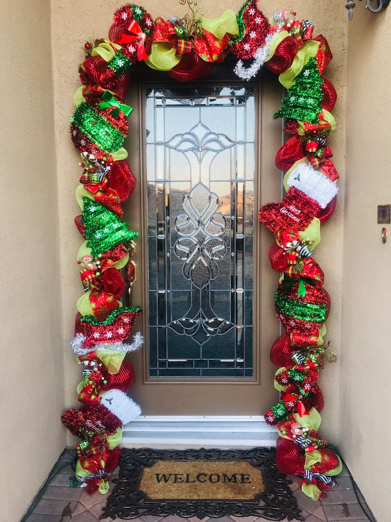 Outdoor Christmas Garland With Lights Front Door Christmas Garland Christmas Front Door Garland With Lights Front Door Christmas Swag