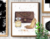 Chanel inspired Nude shoes print Fashion illustration Louboutin shoes print Chanel bag print Chanel illustration Chanel wall art