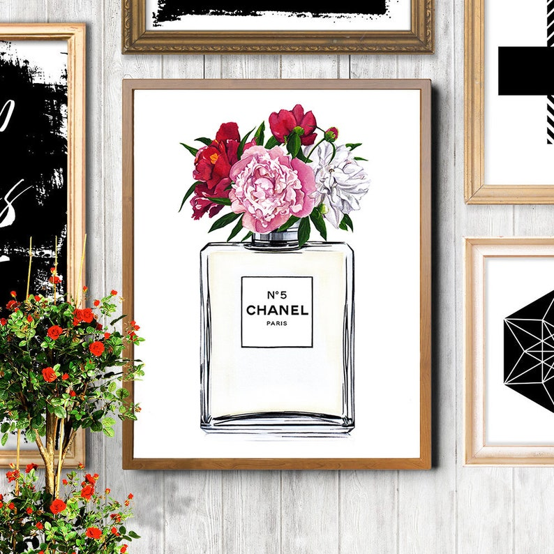 98b67354e9de Chanel illustration Chanel perfume Chanel art print Fashion   Etsy
