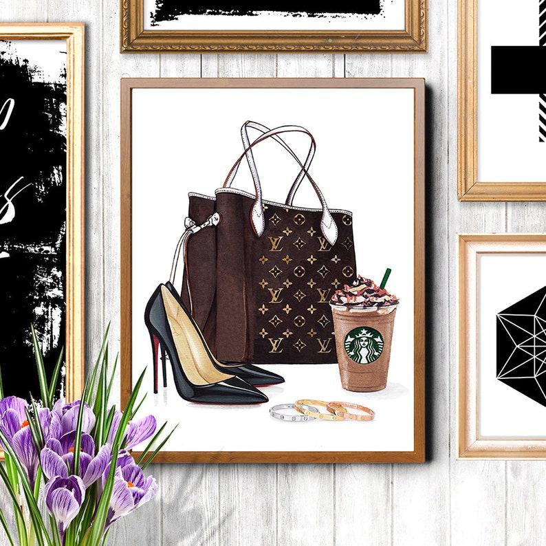 Louis Vuitton Neverfull Mm Monogram Louis Vuitton Art Louis Vuitton Bag Fashion Art Print Christian Louboutin Print Fashion Illustration