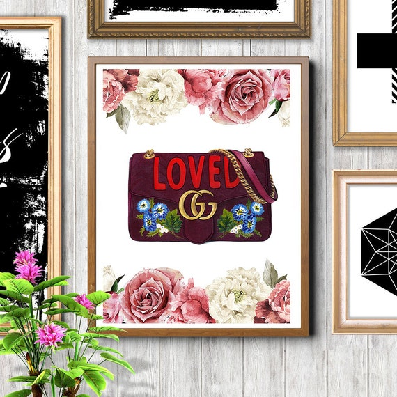 302042b18256f Inspired by Gucci Gucci print Flowers print Pink roses print Gucci wall art  Fashion illustration Fashion print Gucci bag Gucci illustration