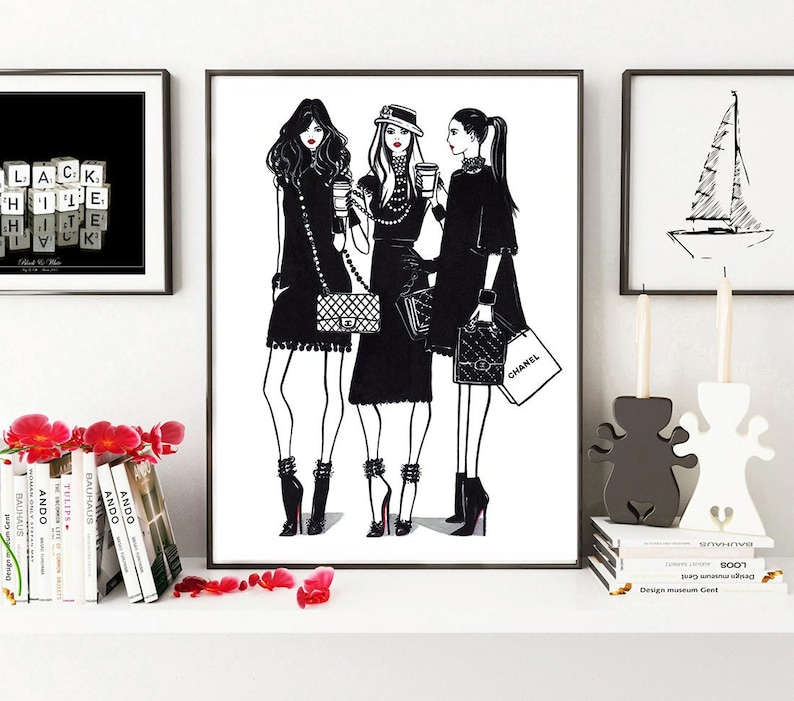 56308c7a36f7 Fashion girls Friendship print Chanel print Chanel artwork   Etsy
