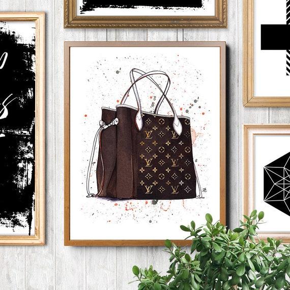 079e33d8b85 Louis Vuitton Neverfull MM Monogram Louis Vuitton art Louis Vuitton bag  Fashion illustration Fashion sketch Fashion poster Fashion art gift