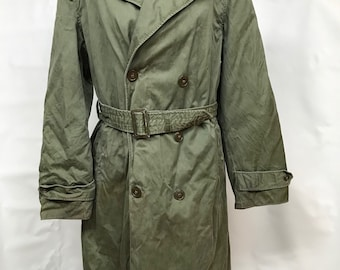 Vintage Military 90/'s Beige Casual Cargo Coat Womens Midi Long Army Coat Windbreaker Long Sleeve Jacket  size S Small