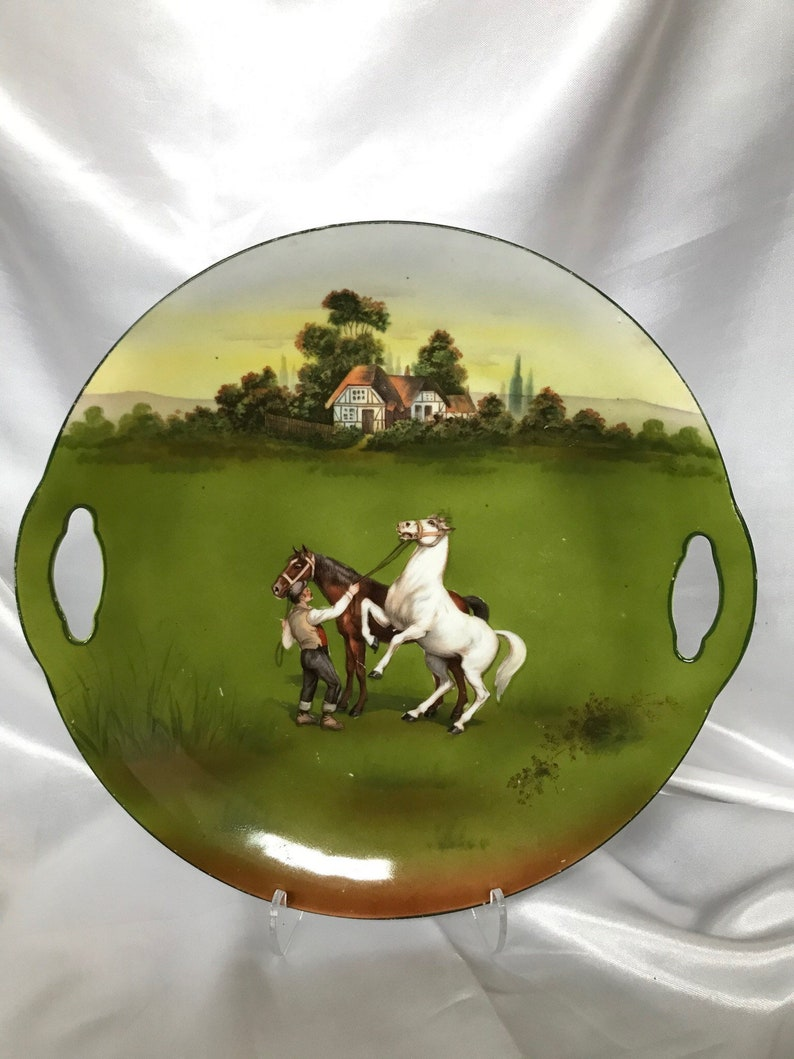 Vintage English horse theme porcelain handled platter